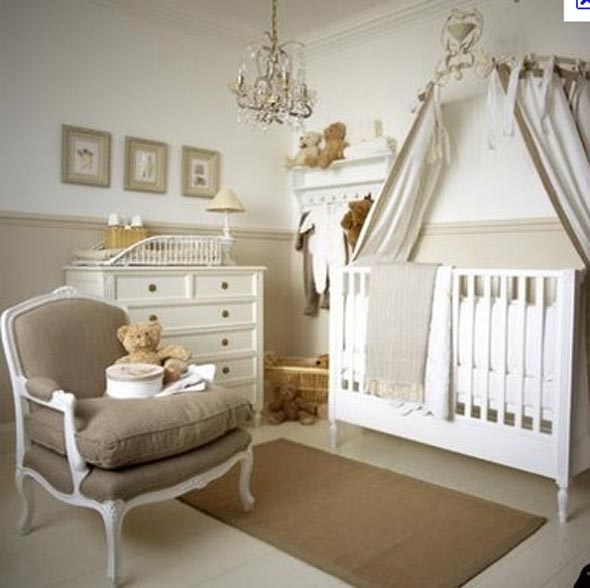 Beautiful Beige Baby Room Ideas Crystal Chandelier White Drawe