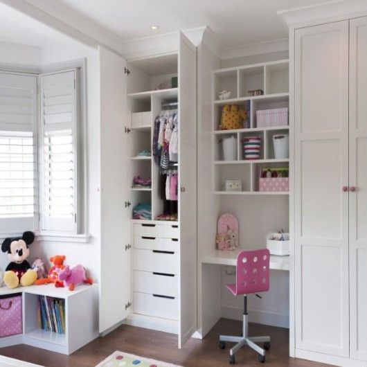 Bright Built-In Storage Design For Girls Bedroom With Bespoke .