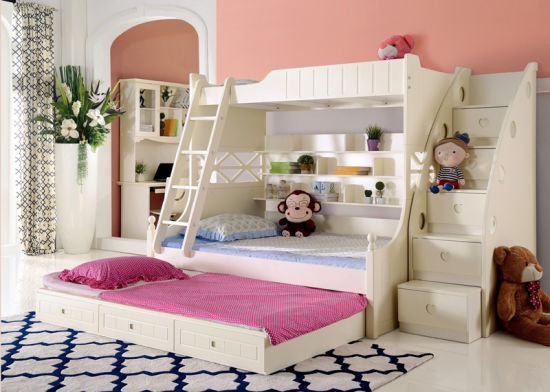 Korean Style Solid Wood Bunk Bed for Children Bedroom Furniture .