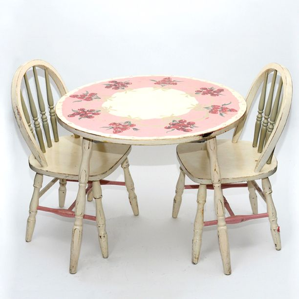 antique childrens play table and chairs | Painted Children's Table .