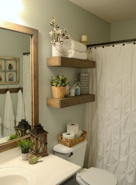 Classy Modern Farmhouse Home Decor Ideas 07 | Rustic wood floating .