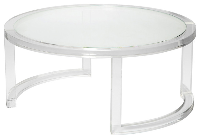 Interlude Ava Modern Round Clear Glass Acrylic Coffee Table .