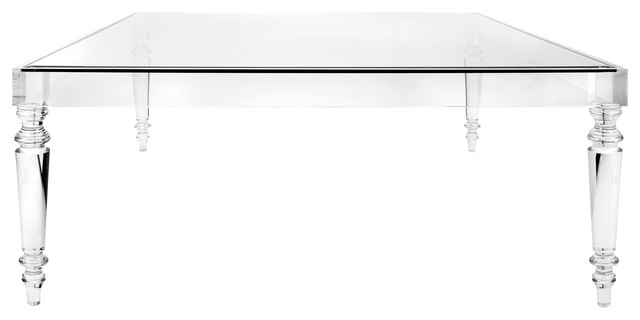 Nakasa Devaro Oversized Acrylic and Glass Coffee Table, Clear .