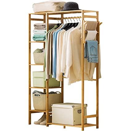 Ufine Bamboo Garment Rack 6 Tier Storage Shelves Clothes Hanging .