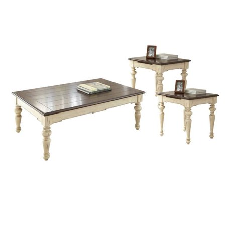 3 Piece Farmhouse Coffee Table Set with Coffee Table and Set of 2 .