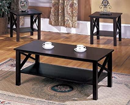 Amazon.com: 3-Piece Merlot Finish Wood Cocktail End Tables Set .