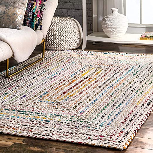 Amazon.com: Hand Braided Bohemian Colorful Cotton Area Rug (Ivory .