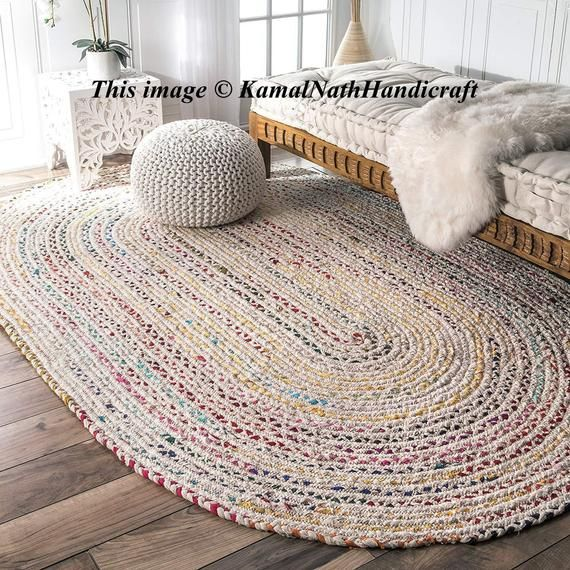 1 Hand Braided Bohemian Colorful Cotton Chindi Area Rug multi .