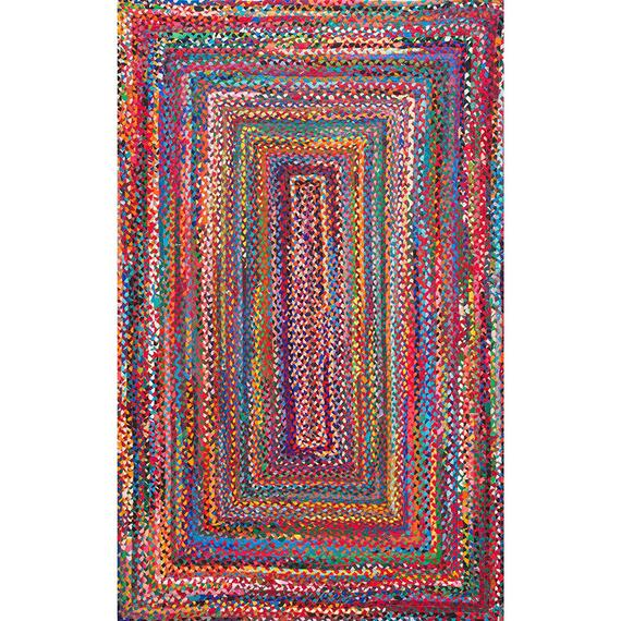 Hand Braided Bohemian Colorful Cotton Chindi Area Rug multi | Et