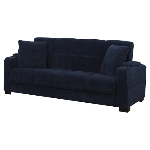 Susan Velvet Convert-a-Couch Storage Arm Futon Sofa Sleeper .