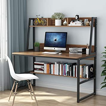 Amazon.com: Tribesigns Computer Desk with Hutch and Bookshelf, 47 .