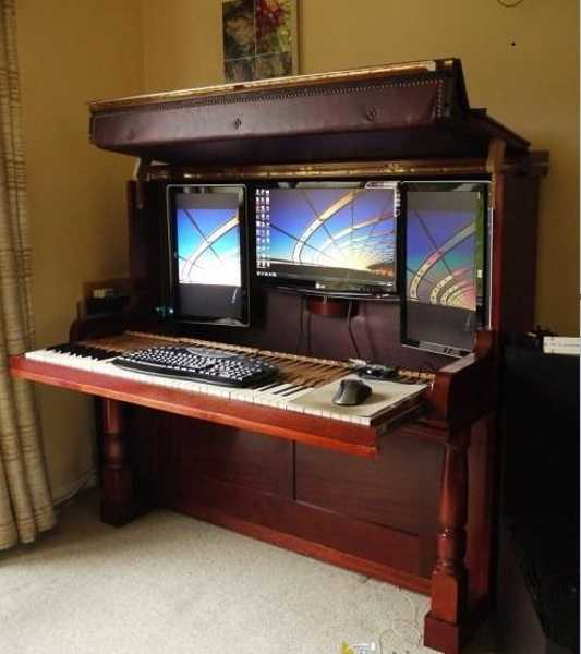 Amazing Redesign, Repurposing Piano into Computer Desk and Workstati