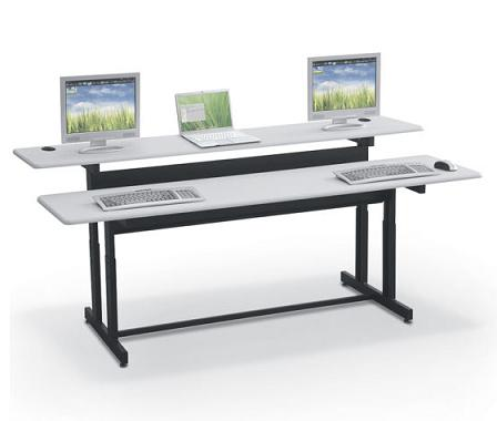 Split Level Computer Workstation - Classroom Computer De