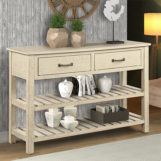 Buy Retro Console Table for Entryway with Drawers and Shelf Living .