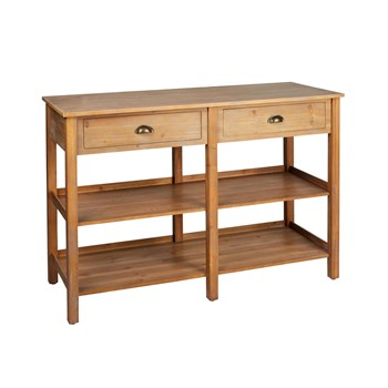 The Grainhouse™ Natural Finish 2-Drawer/2-Shelf Console Table .