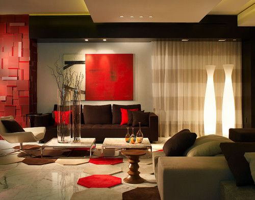 Living Room: Contemporary Living Room Ideas Using Red Living Room .