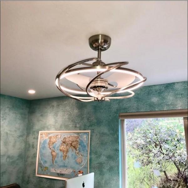 """27"""" Bucholz Ceiling Fan with LED Lights, Modern Chandelier Fan ."""