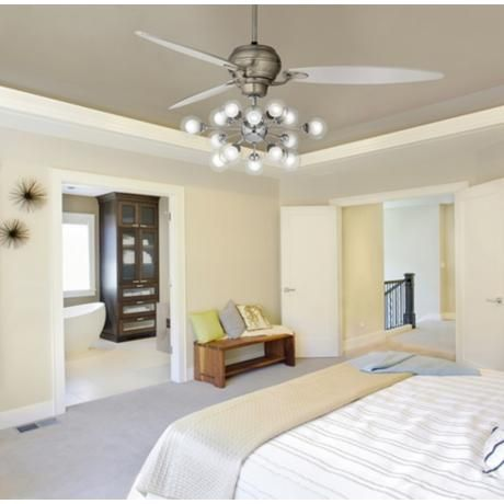 Contemporary Bedroom with Mid Century Inspired Ceiling Fan with .