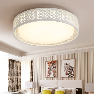 Hollow Design Drum Shade Living Room Flush Mount Light Acrylic LED .