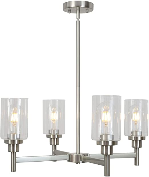 Amazon.com: 4 Light VINLUZ Modern Chandelier Brushed Nickel .