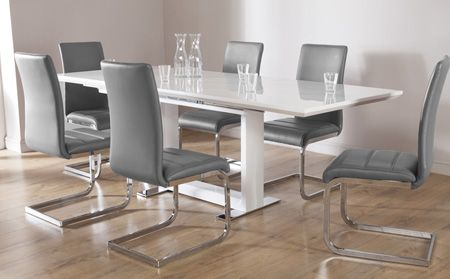 Tokyo White High Gloss Extending Dining Table and 8 Chairs Set .