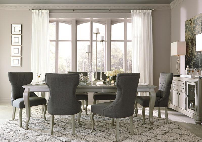 JULIEN - 7pcs Mid Classic Modern Silver Rectangular Dining Room .