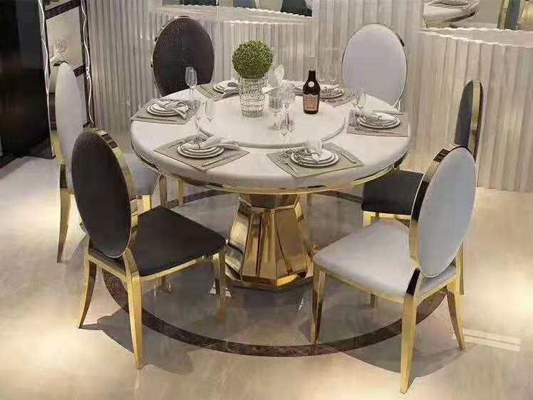 Modern Style table metal Luxury round dining table set wxgdjj01 .
