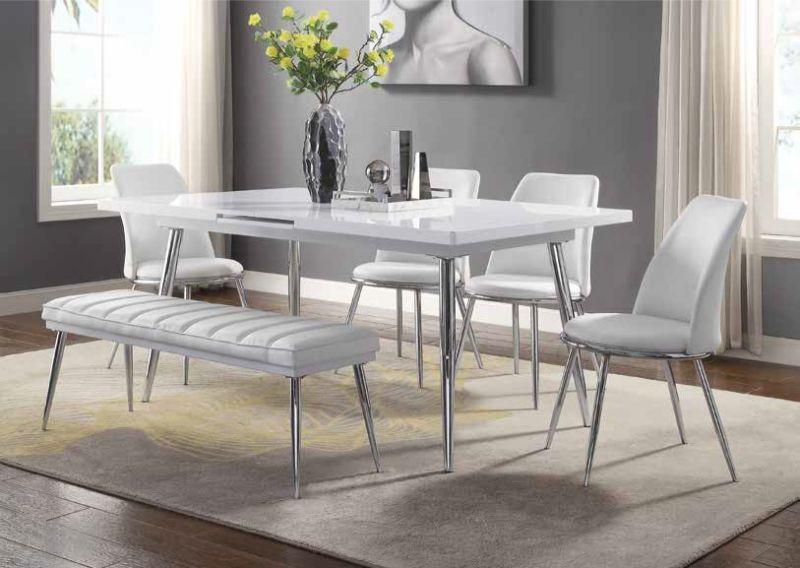 Acme 77150-52-53 6 pc Weizor white high gloss finish wood modern .