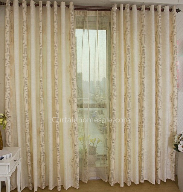 Contemporary Faux Silk Lines Making Pleated Curtai