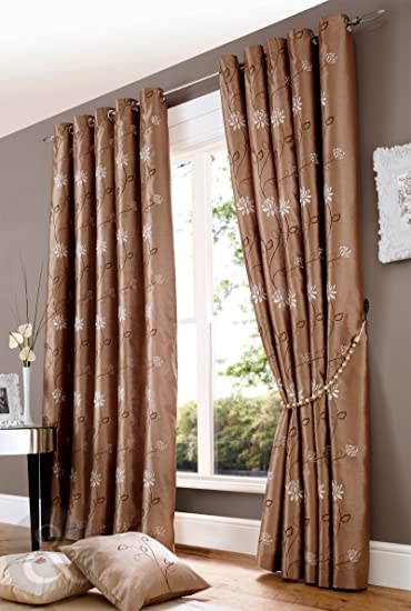 Amazon.com: FLORAL EMBROIDERED FAUX SILK Eyelet Curtains Ready .