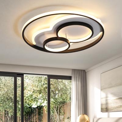 LED Ring Bedroom Ceiling Light Metal Frame Contemporary Flush .