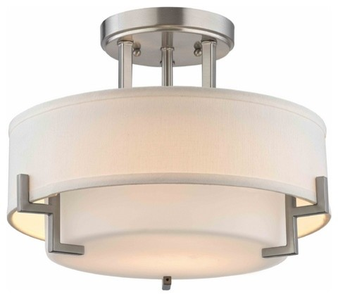Modern Ceiling Light with White Glass in Satin Nickel Finish .