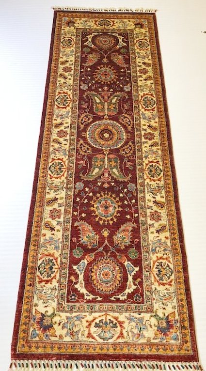 Contemporary Hall Runner - Suzani Rug Collection / Bordeaux .