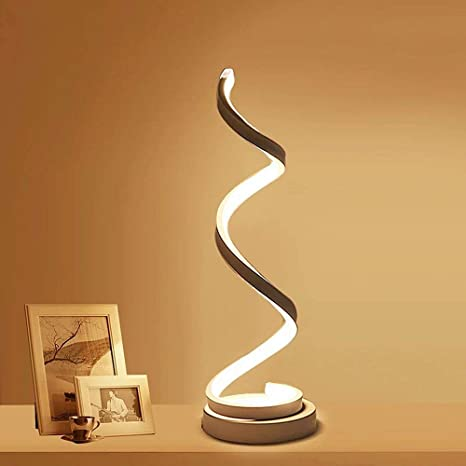 Modern Spiral LED Table Lamp - ELINKUME 12W Smart Dimmable Curved .