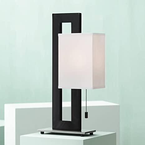 Floating Square Modern Accent Table Lamp Black Metal Rectangular .