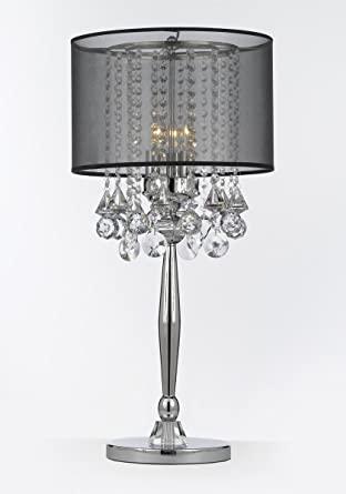 Silver Mist 3 Light Chrome Crystal Table Lamp with Black Shade .