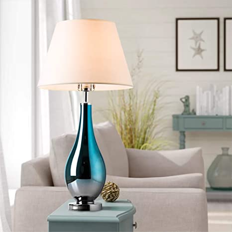 """Table Lamp Bule Ombre Glass 28"""" Side Bedside Table & Desk Lamp for ."""