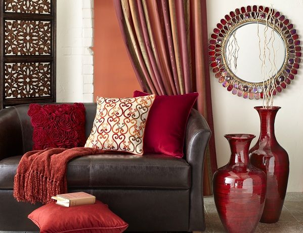 Leo Zodiac: Pier 1 Alluring Mirror with Red Bamboo Vases and .
