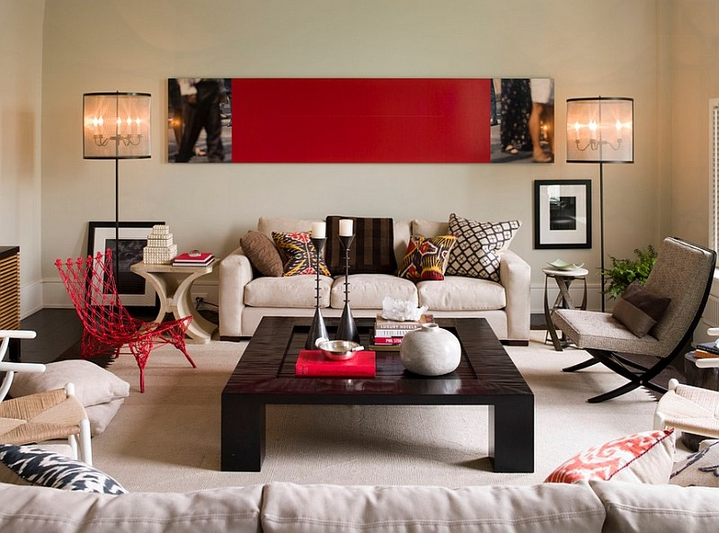 Red Living Rooms Design Ideas, Decorations, Phot