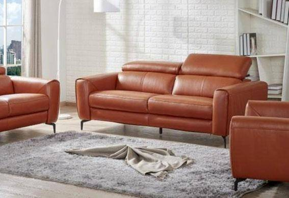 J&M Cooper Contemporary Pumpkin Premium Italian Leather Living .