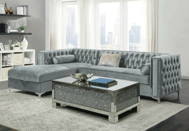 CONTEMPORARY SILVER VELVET STORAGE SOFA SECTIONAL LIVING ROOM .
