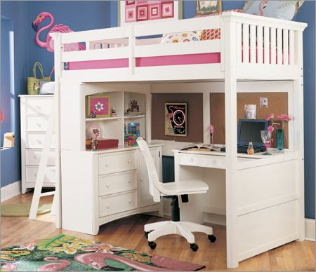 Loft Beds With Desks Underneath | White loft bed, Bunk bed with .