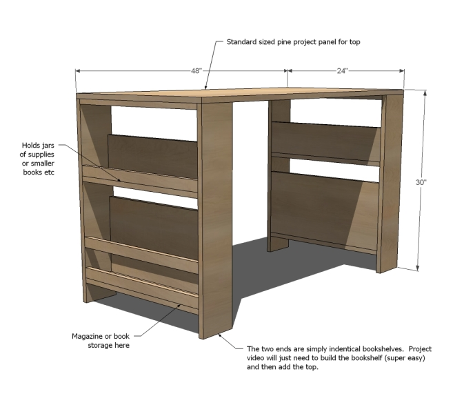 Comfortable DIY Storage Leg Desk For Kids | Kidsoman