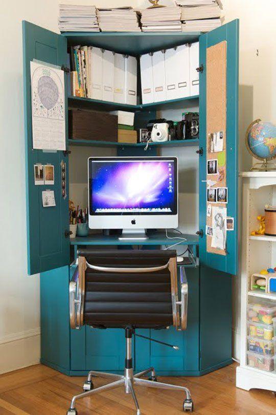 Jordan's Tucked in a Corner Hideaway Armoire Home Office in 2020 .