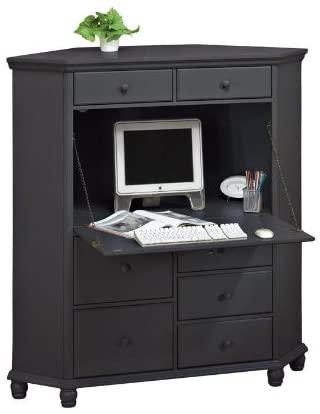 Amazon.com: Harwick Corner Computer Armoire, Black: Kitchen & Dini