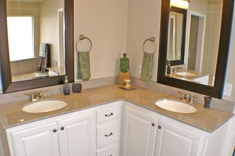 L-Shaped bathroom vanity - Double sinks... | L shaped bathroom .