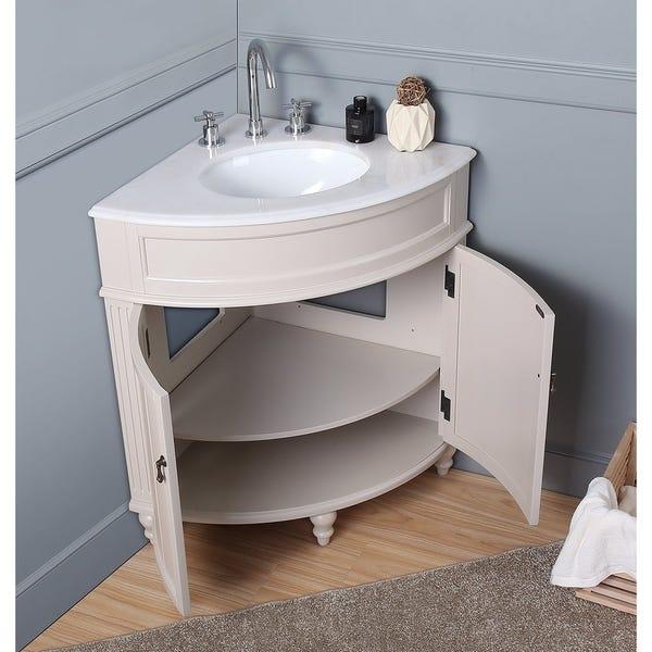 "Shop 24"" Benton Collection Thomasville Taupe Corner Bathroom Sink ."