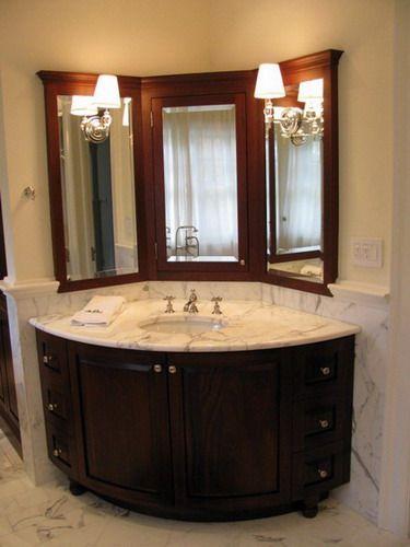 Elegant corner bathroom vanity with marble sink countertop design .