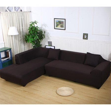 Sofa Covers for L Shape, 2pcs Polyester Fabric Stretch Slipcovers .