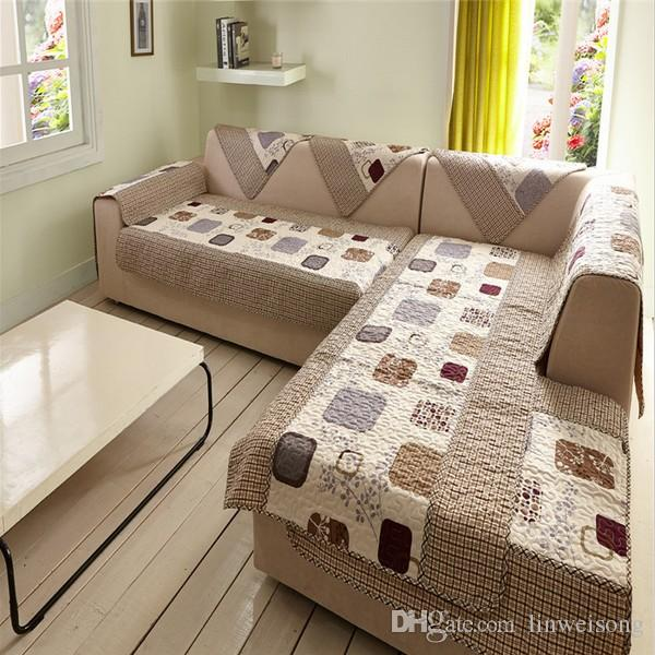 Durable Polyester L Shaped Sofa Covers Printed Sofa Cover Set .